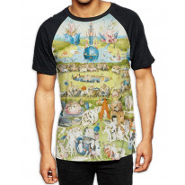 Hieronymus Bosch Garden of Earthly Delights Men's All Over Print Graphic Contrast Baseball T Shirt
