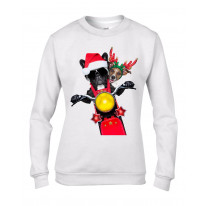 French Bulldog and Jack Russell Terrier Santa Claus Style Father Christmas Women's Sweater \ Jumper