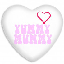 Yummy Mummy Mothers Day Faux Silk Heart Shaped Sofa Cushion