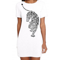 Tribal Tiger Tattoo Large Print Women's T-Shirt Dress