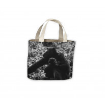 Mother Chimpazee and Baby Black and White Tote Shopping Bag For Life