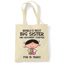 Worlds Best Big Sister Women's 18th Birthday Present Shoulder Tote Bag