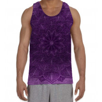 Mandala Pattern Purple Background Men's All Over Graphic Vest Tank Top