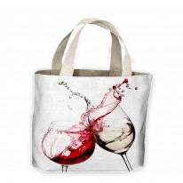 2 Wine Glasses Clinking Tote Shopping Bag For Life