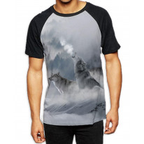 Wolves Howling at Moon Men's All Over Graphic Contrast Baseball T Shirt