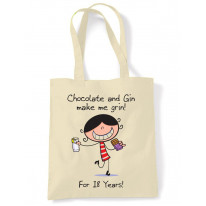 Chocolate & Gin Make Me Grin Women's 18th Birthday Present Shoulder Tote Bag
