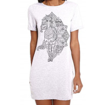 Tribal Horse Tattoo Large Print Women's T-Shirt Dress