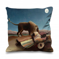 Henri Rousseau Sleeping Gypsy Under The Moon Faux Silk 45cm x 45cm Sofa Cushion