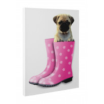 Pug Dog In Pink Wellies Canvas Print Wall Art - Choice Of Sizes
