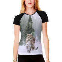 Persian Leopard in Snow Women's All Over Graphic Contrast Baseball T Shirt