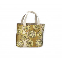 Gold Flowers Background Tote Shopping Bag For Life