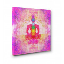 Lotus Pose Chakras Box Canvas Print Wall Art - Choice of Sizes