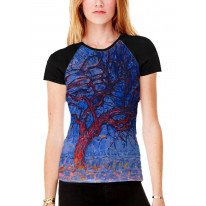 Piet Mondrian The Red Tree Women's All Over Graphic Contrast Baseball T Shirt