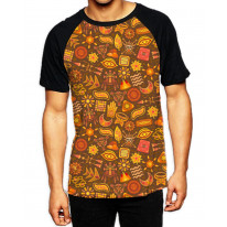 Tribal Pattern Brown  Men's All Over Graphic Contrast Baseball T-Shirt