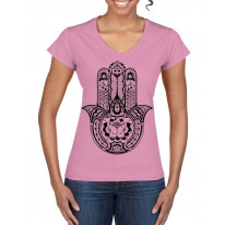 Tribal Hamsa Hand Of Fatima Tattoo Large Print V Neck Women's T-Shirt