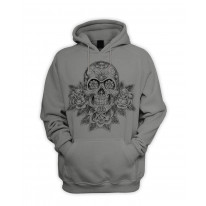 Skull and Roses Tattoo Men's Pouch Pocket Hoodie Hooded Sweatshirt