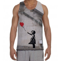 Banksy Balloon Girl Heart Men's All Over Print Graphic Vest Tank Top