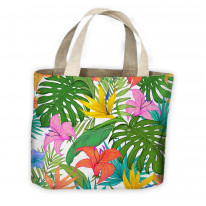 Tropical Lilies Pattern All Over Tote Shopping Bag For Life