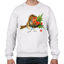 Christmas Robin with Holly Mens Sweatshirt Jumper