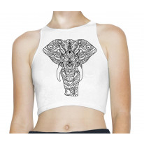 Tribal Indian Elephant Tattoo Hipster Sleeveless High Neck Crop Top