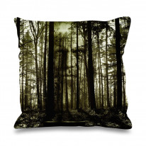 Forest Horror Face Faux Silk 45cm x 45cm Sofa Cushion