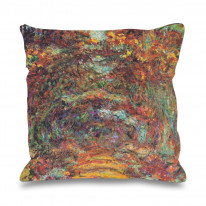 Claude Monet Rose Walk Faux Silk 45cm x 45cm Sofa Cushion