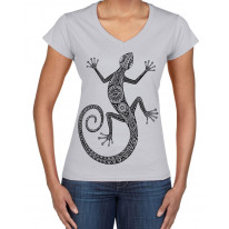 Tribal Lizard Tattoo Large Print V Neck Women's T-Shirt