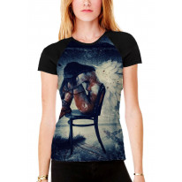 Fallen On Angel on Chair Women's All Over Graphic Contrast Baseball T Shirt