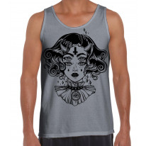 Devil Girl Satanic Cross Tattoo Large Print Men's Vest Tank Top