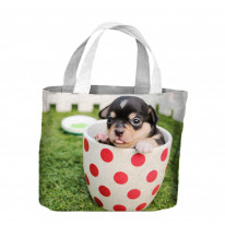 Chihuahua Puppy in a Tea Cup Tote Shopping Bag For Life