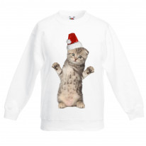 Kitten With Santa Claus Hat Christmas Kids Jumper \ Sweater