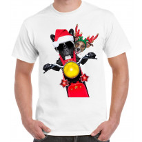 French Bulldog and Jack Russell Terrier Santa Claus Style Father Christmas Men's T-Shirt