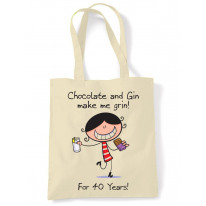 Chocolate & Gin Make Me Grin Women's 40th Birthday Present Shoulder Tote Bag
