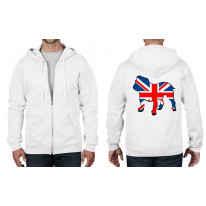 British Bulldog Union Jack Flag Full Zip Hoodie