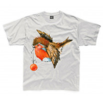 Christmas Robin With Bauble Cute Kids T-Shirt