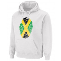 Jamaican Flag Finger Print Pouch Pocket Pull Over Hoodie