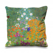 Gustav Klimt Flower Garden Faux Silk 45cm x 45cm Sofa Cushion