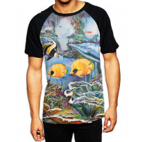 Under The Sea  Men's All Over Graphic Contrast Baseball T-Shirt