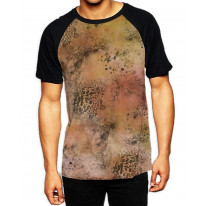 Abstract Leopard Print Men's All Over Print Graphic Contrast Baseball T Shirt