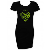 Vegan Heart Logo Short Sleeve T-Shirt Dress