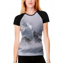 Wolves Howling at Moon Women's All Over Graphic Contrast Baseball T Shirt