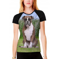 Boxer Dog Sat on Grass Women's All Over Print Graphic Contrast Baseball T Shirt
