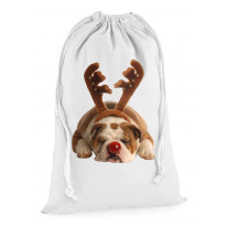 Bulldog Rudolph Reindeer Cute Christmas Presents Stocking Drawstring Santa Sack