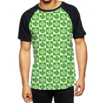 Four Leaf Clover St Patricks Day Pattern Men's All Over Print Graphic Contrast Baseball T Shirt