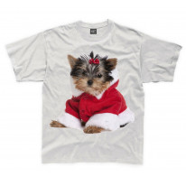 Yorkshire Terrier Puppy Santa Claus Father Christmas Kids T-Shirt