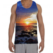 Sunset on the Sea Beach Men's All Over Graphic Vest Tank Top