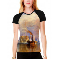 William Turner The Fighting Temeraire Women's All Over Graphic Contrast Baseball T Shirt