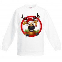 Rudolph Reindeer With Baubles Christmas Kids Jumper \ Sweater