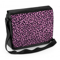 Pink Leopard Skin Pattern Laptop Messenger Bag