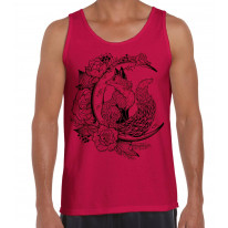 Fox With Crescent Moon Hipster Tattoo Large Print Men's Vest Tank Top